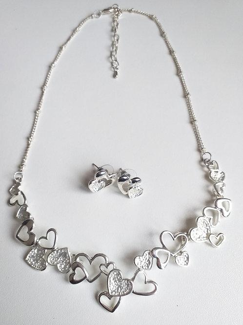 Double Hearts Necklace & Earrings set