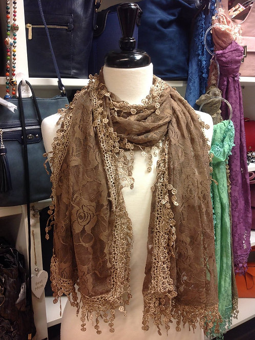 Brown Rose Lace Scarf