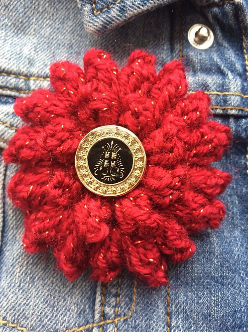 Red Corsage Brooch