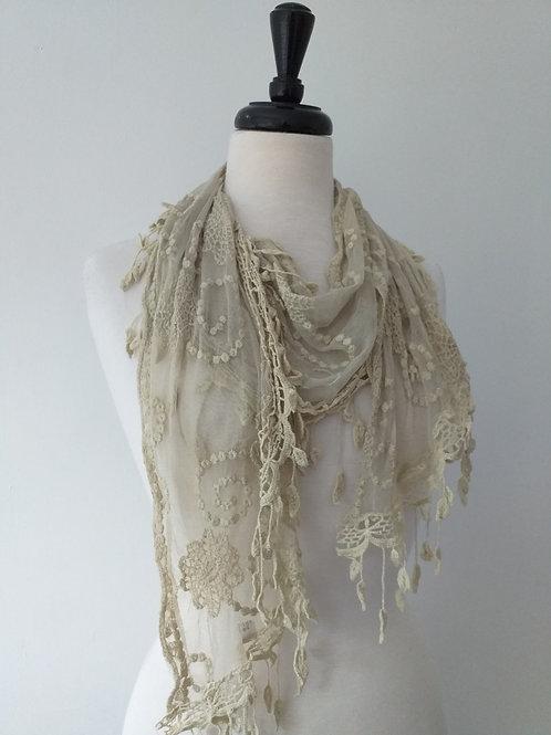 Rustic cream lace scarf
