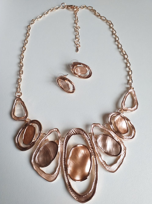 Gold Double Circles Necklace & Earrings Set