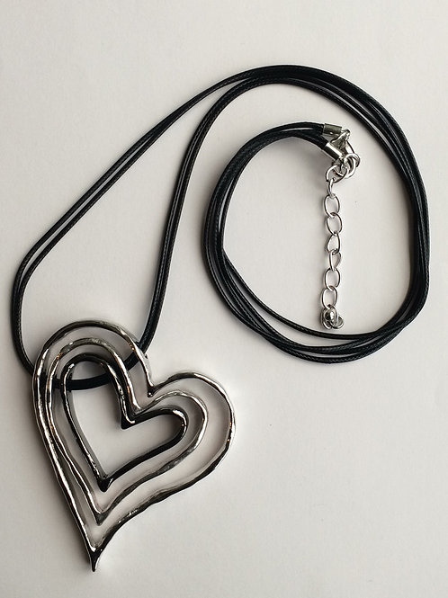 Silver Grey Triple Heart Necklace