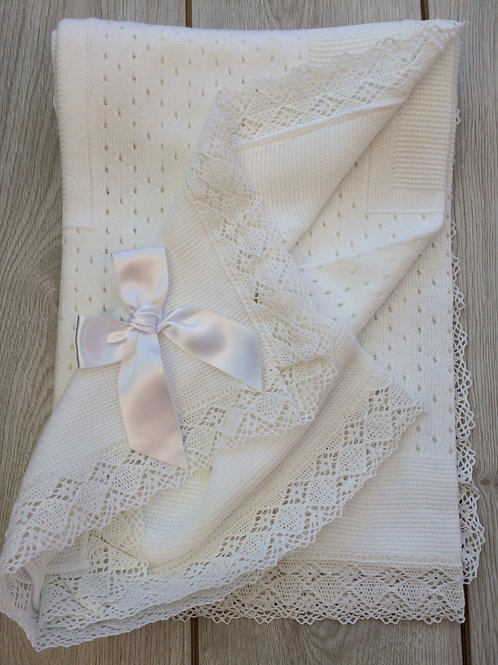 White Spanish Crochet Lace Baby Blanket
