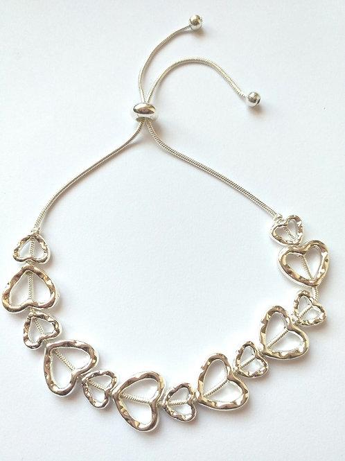 Silver Hearts draw string bracelet