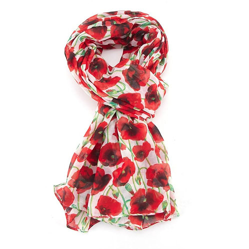 Cream Red Poppy Scarf