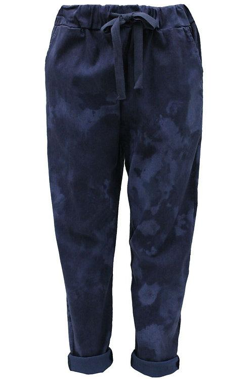 Tie-dye Navy magic trousers fits uk 18-22