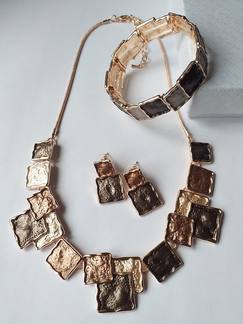 Bronze Squares Necklace Set