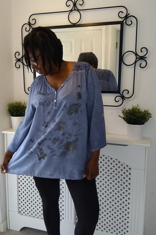 Blue Floral Butterfly Shirt  Fits UK 12 - 18