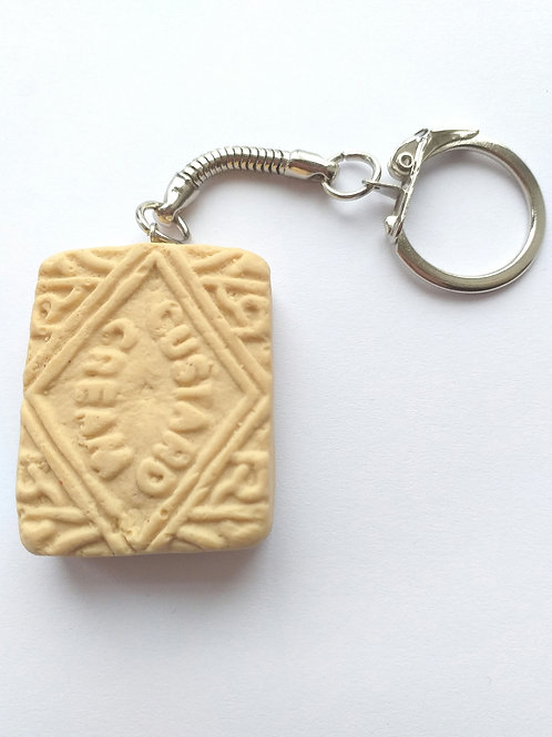 Custard Cream keyring/bagcharm