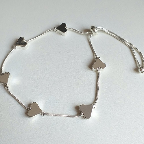Solid Space Silver Hearts draw string bracelet