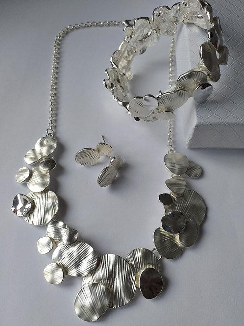 Brushed Silver Necklace Set