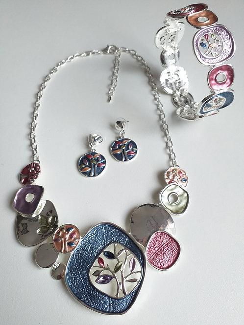 Blue Tree Necklace, Earrings Bracelet Set