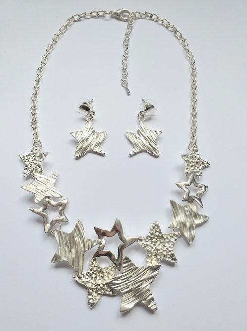 Stars Necklace Set Silver