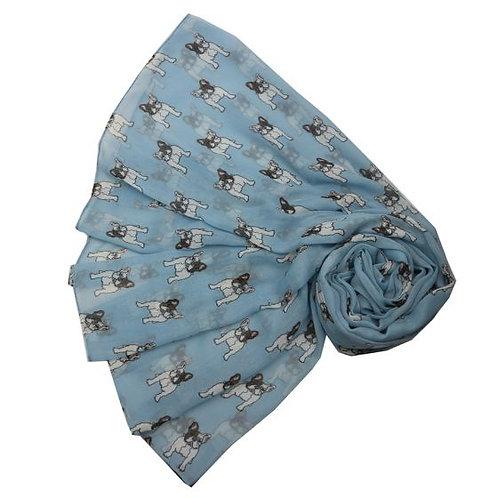 Ladies Blue Frence Bull Dog Scarf