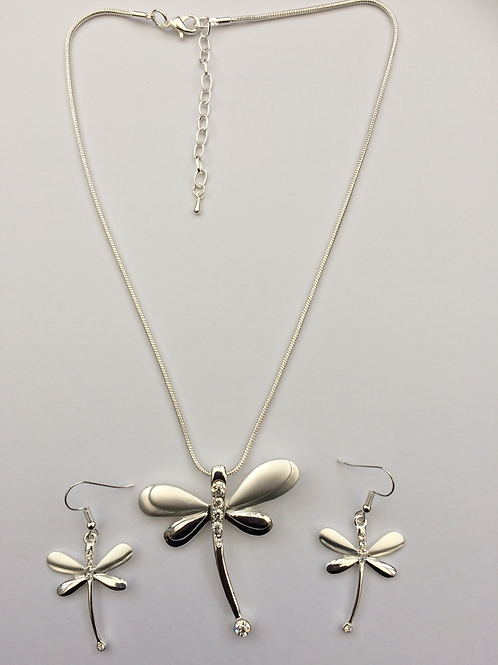 Silver dragonfly necklace set