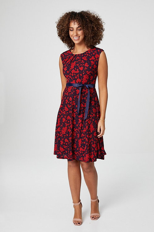 FLORAL SLEEVELESS FIT & FLARE DRESS uk 8-16