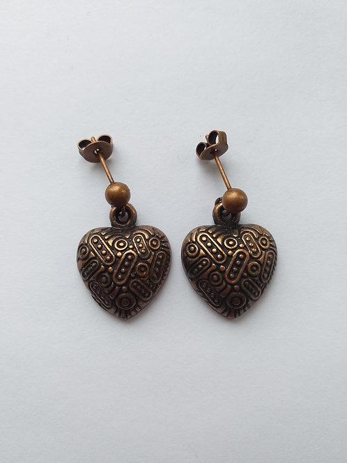 Vintage heart studd earrings