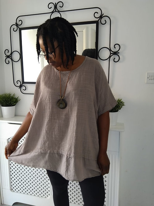 Plain Brown Top with Necklace Fits UK 12-24