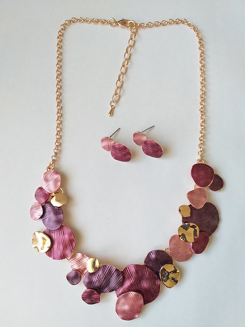 Clara Circles purple Necklace Set
