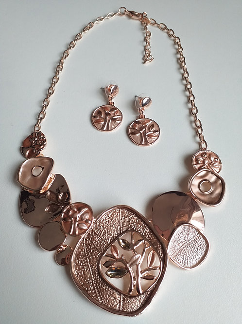 Tree Necklace & Earrings Set Gold