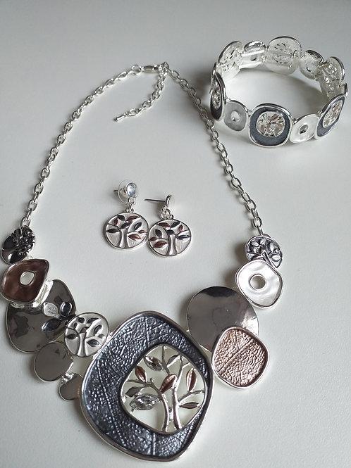 Grey Tree Necklace, Earrings Bracelet Set