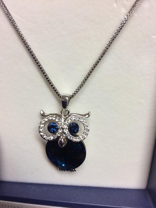 Blue crystal owl necklace pendant simiandlola blue crystal owl pendant chain with blue crystal tummy crystal eyes diamonte eye surrounding aloadofball Images
