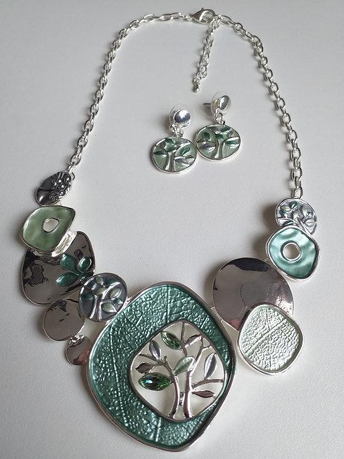 Tree Necklace & Earrings Set Green