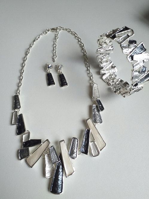 Barcelona Grey Necklace, Earrings Bracelet Set
