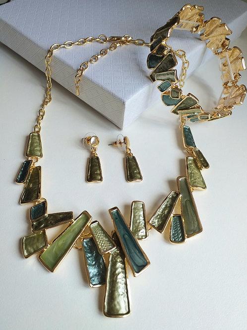 Barcelona Green Necklace, Earrings Bracelet Set