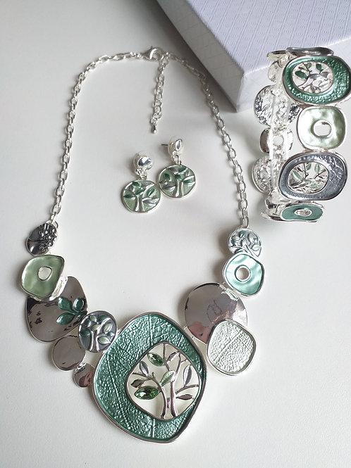 Green Tree Necklace, Earrings Bracelet Set