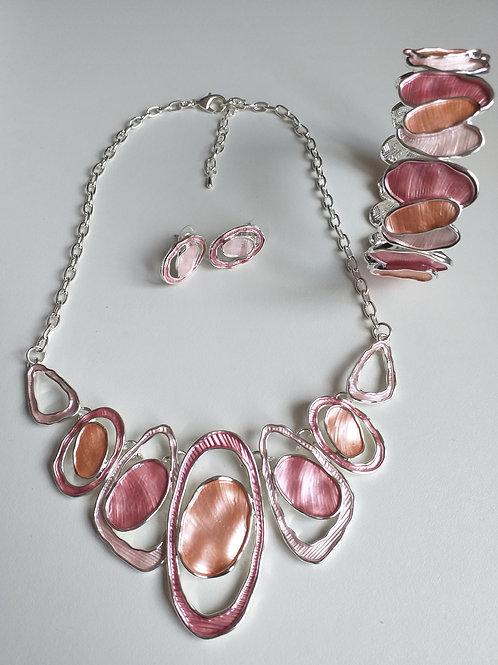 Double Pink Circles Necklace, Earrings Bracelet Set