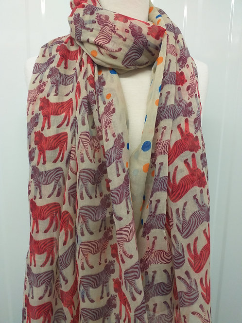 Beige zebra scarf