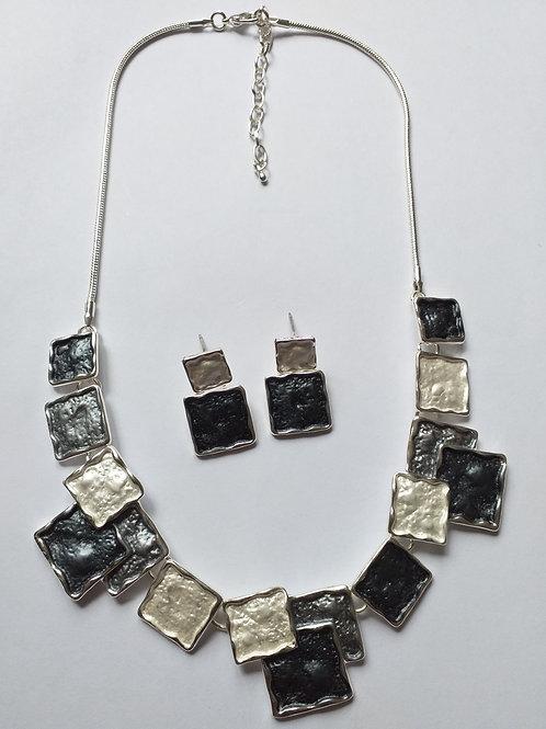 Grey Squares Necklace Set