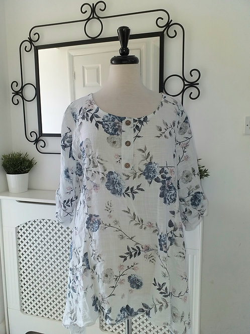 Chloe Floral Top White Fits UK 12-18