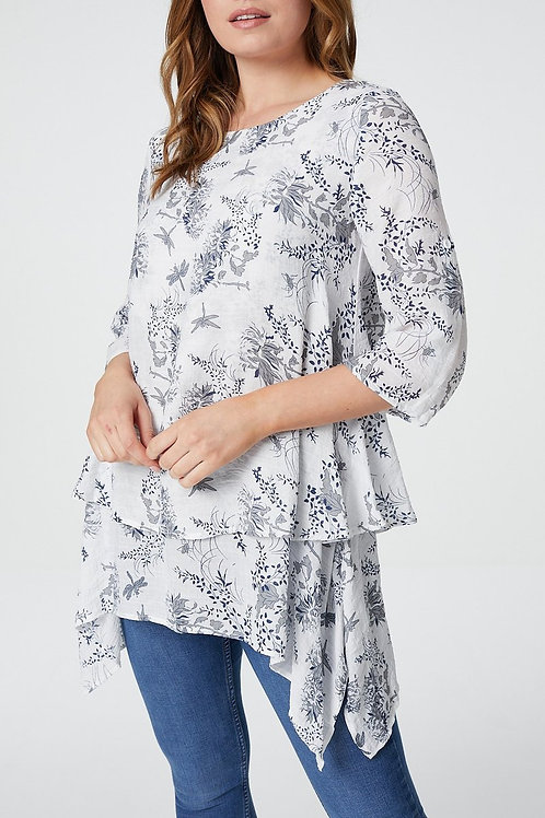 FLORAL HANKY HEM LAYERED TUNIC TOP IN GREY
