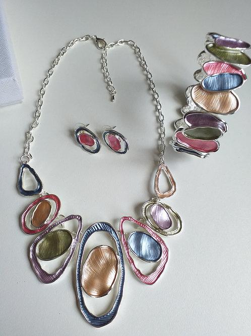 Double Multi Circles Necklace, Earrings Bracelet Set