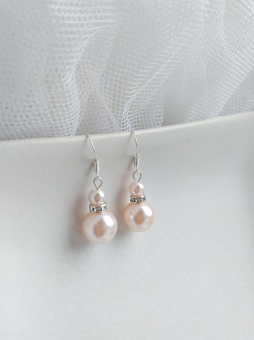 Blush Pink Double Pearl Earrings