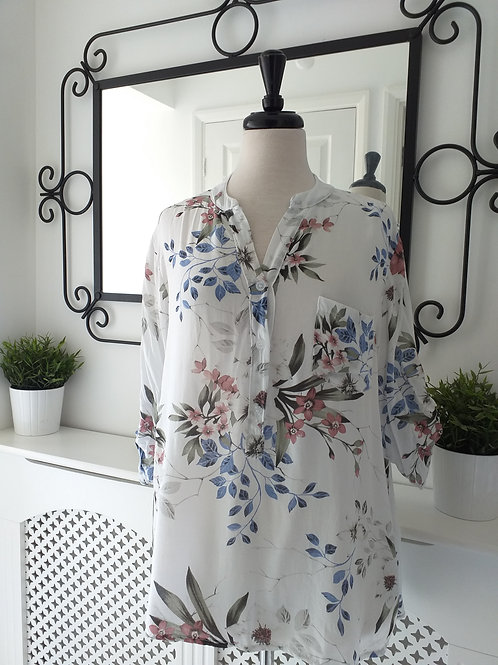 White Floral Shirt Fits UK 10-16