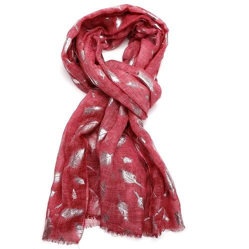 Ladies Tie Dye Pink Foil Feathers Scarf