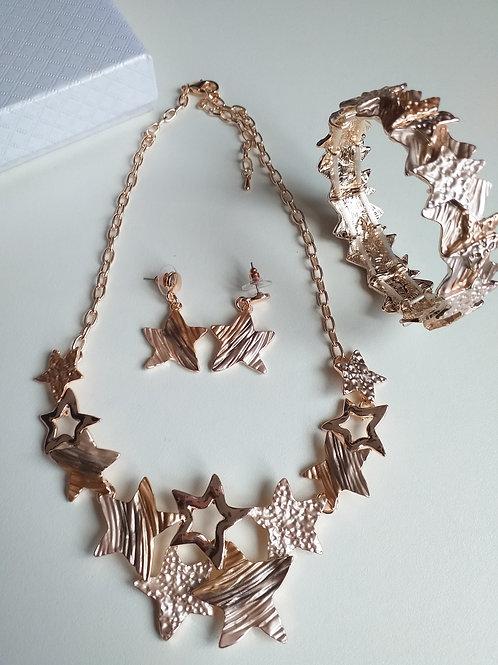 Stars Gold Necklace, Earrings Bracelet Set