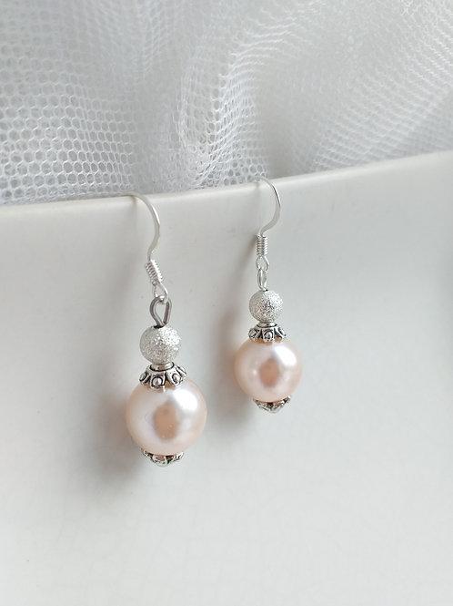 Silver Pink Pearl Earrings