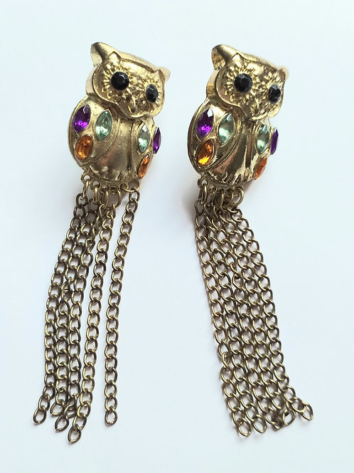 Tassel Gold Owl Earrings