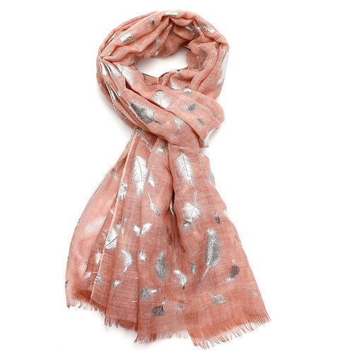 Ladies Tie Dye Dusky Pink Foil Feathers Scarf