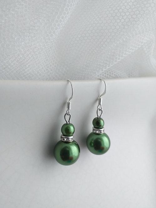 Green Double Pearl Earrings