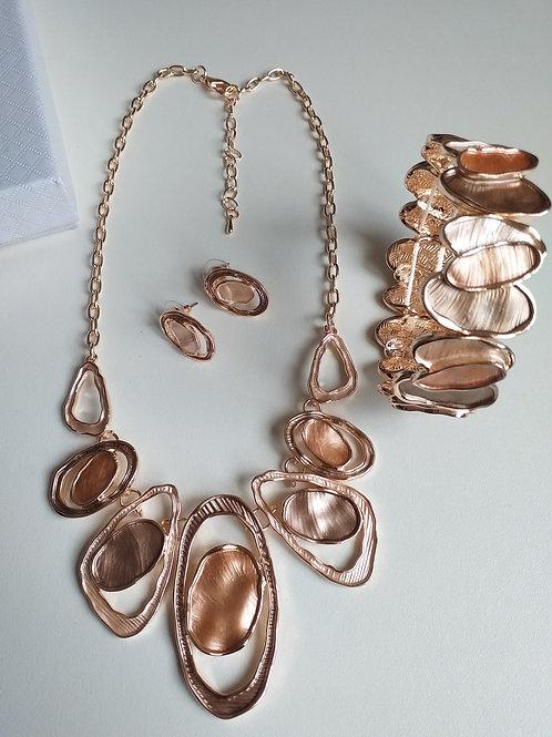 Double Gold Circles Necklace, Earrings Bracelet Set