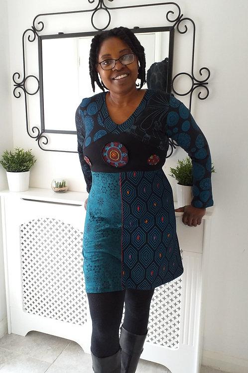 Blue Gringo hippy patchwork dress