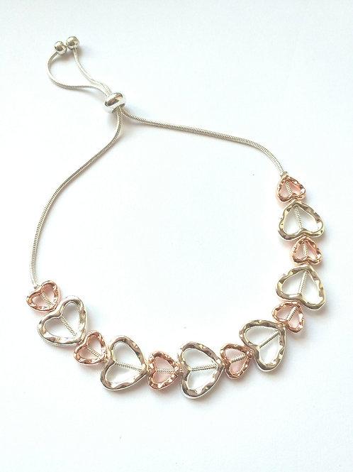 Silver/Rosegold Hearts draw string bracelet