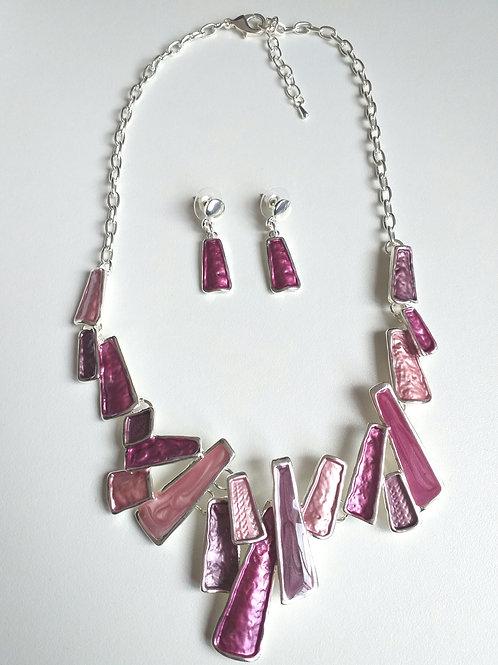 Barcelona Necklace & Earrings Set Purple