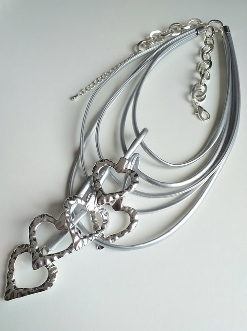 Multiple hearts necklace Silver