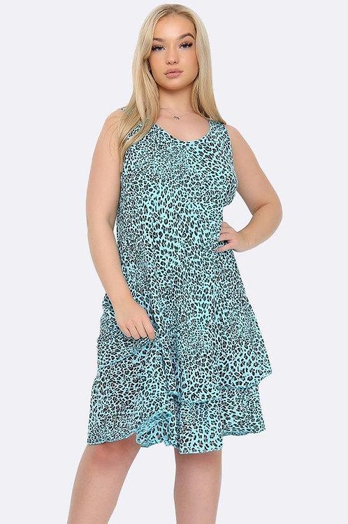 Turquoise Leopard Dress Fits UK 12-18